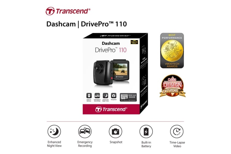Transcend DrivePro 110 Dash Cam with Free 32GB Class 10 Micro SD (TS-DP110M-32G)