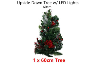 LED Light Upside Down Tree 60cm Xmas Christmas Party Decor Battery Hang Home