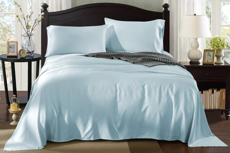 Royal Comfort 100% Natural Bamboo Bed Sheet Set (Queen, Chambray)