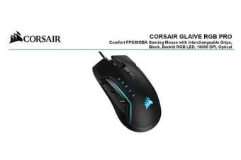 Corsair Gaming GLAIVE PRO RGB Gaming Mouse - Black, Backlit RGB LED, 18000 DPI, Optical, CUE Software, Changeable Thumb Grips.