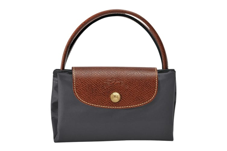Longchamp Le Pliage Top-Handle Handbag (Small, Gun Metal)
