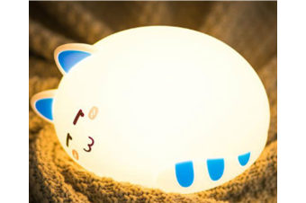 Select Mall Remote Control Creative Colorful Cat Silicone Lamp Night Light Bedroom Bedside Children Sleep Feeding Lamp-2#