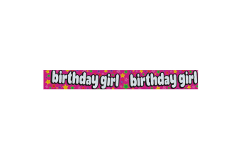 Expression Factory Holographic Birthday Girl Foil Party Banner (Pink) (One Size)