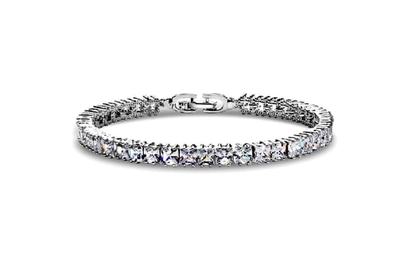 Princess Cut Tennis Bracelet w/Swarovski Crystals-White Gold/Clear