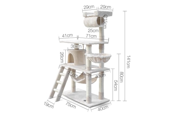 Cat Scratching Post Tree House Condo 141cm (Beige)