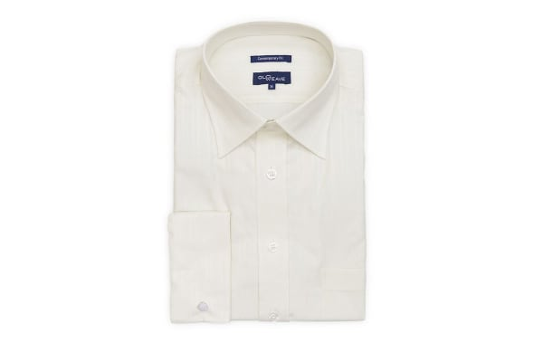 Gloweave Men's Contemporary Fit Striped French Cuff Business Shirt - Cream (Size 40)