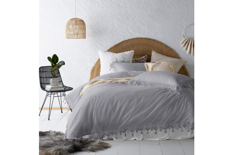 Gypsy Silver Tassels Quilt Cover Set Queen
