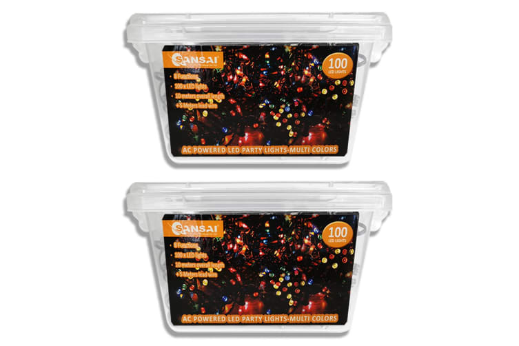 2x Sansai AC Power Indoor/Outdoor 10m 100 LED String Light Party/Christmas Multi