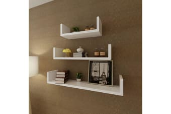 vidaXL 3 White MDF U-shaped Floating Wall Display Shelves Book/DVD Storage