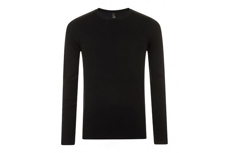SOLS Mens Ginger Crew Neck Sweater (Black) (XXL)