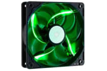 Coolermaster SickleflowX, Green LED Fan,120mm,19dBA,3 Pin, Sleeve Bearing