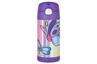 Thermos Funtainer Stainless Steel 355ml Drink Bottle - Purple Butterfly