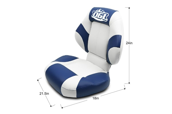 Premium Boat Seat Folding & Swivel w/ White Blue