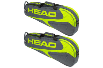 2x Head Elite Tennis 3R Pro Carry Sports Bag for Racquet/Racket Grey/Neon Yellow