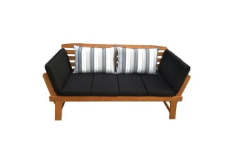 Luxo Chatsworth 2-in-1 Eucalyptus Hardwood Day Bed with Black Cushions