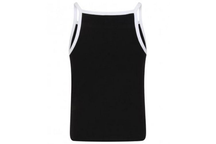 Skinni Fit Chidlrens Girls Feel Good Stretch Contrast Strappy Vest (Black/White) (9-10 Years)