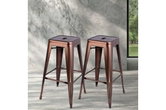 Artiss 2x Replica Xavier Tolix Bar Stools Steel Kitchen Cafe Chairs 76cm Bronze