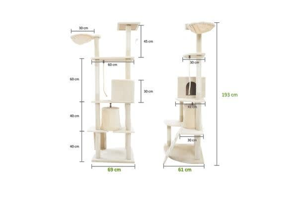 Cat Tree Scratcher ACACIA 193 cm - BEIGE