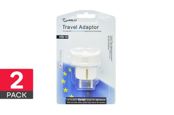 2-Pack Sansai Travel Adapter - Europe, Bali, Asia, Middle East & South America (STV-10)