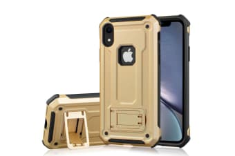 Shockproof PC + TPU Armour Protective Case For iPhone XR Holder Gold