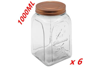 6 x 1000ml VINTAGE GLASS CANISTER ROSE GOLD LID Food Storage Cookie Kitchen Jars 1L