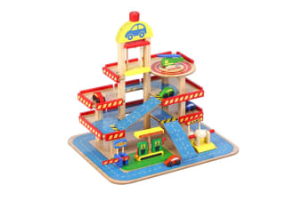 Wooden Car Garage Playset