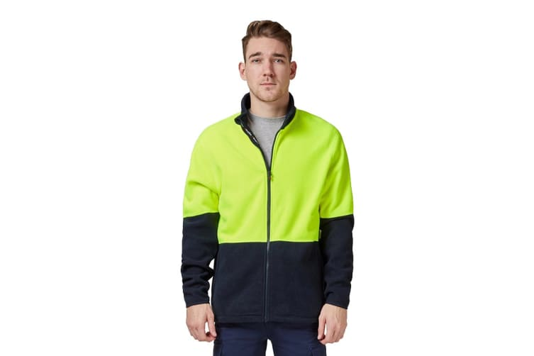 King Gee Full Zip Spliced Hi Vis Fleece (Yellow/Navy, Size 2XS)