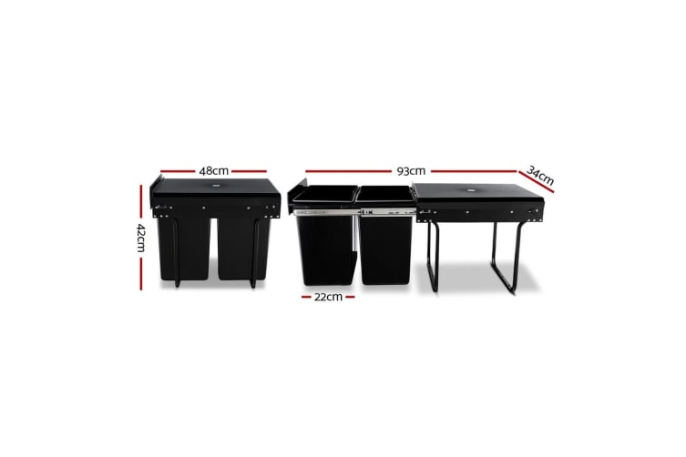 2X20L Pull Out Bin Kitchen Double Dual Twin Bins Sliding Rubbish Waste Basket