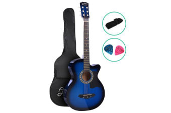 Alpha 38 Inch Wooden Folk Acoustic Guitar Classical Cutaway Steel String Blue