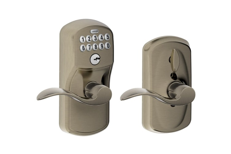 Schlage Keypad Lever with Plymouth Trim and Accent Lever with Flex Lock (Antique Pewter)
