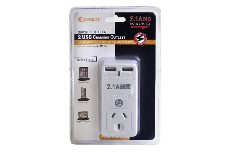 Sansai 2.1A Power Adapter with 2 USB Outlets & Surge Protect (PAD-202USB)
