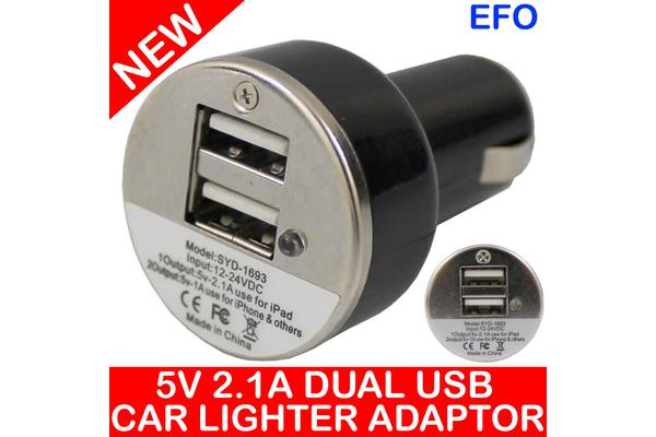 2X Input Usb Car Charger For Ipad Iphone 12V Dc Socket 5V 2.1A Black Syd-1693