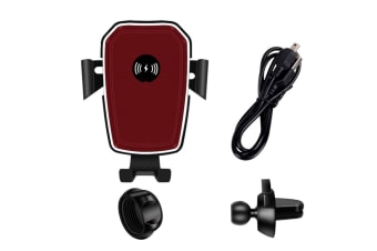 Car Gravity Sensing Bracket Air Outlet 10W Mobile Phone Wireless Charger Red