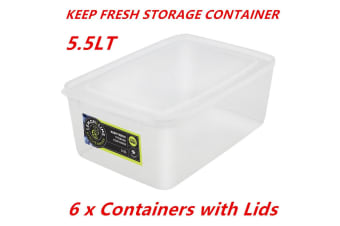 6 x 5.5L Rectangle Stack-able Plastic Food Storage Container Box Lid BPA Free