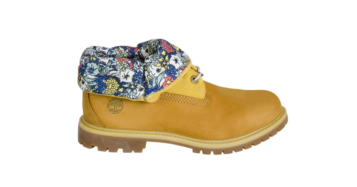 67233be570f7 Timberland Women s Authentics Roll Top Boots (Wheat Nubuck Canvas Floral