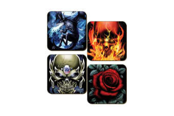 Requiem Collective 4 Piece Square Coaster Set (Multicoloured) (One Size)
