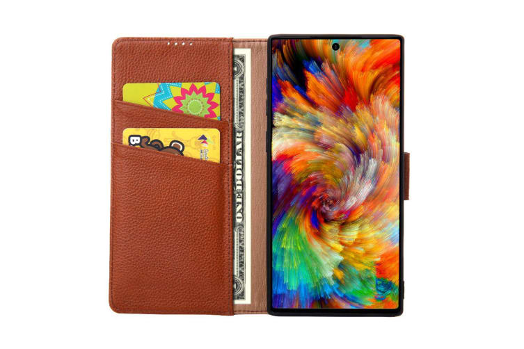 For Samsung Galaxy Note 10+ Plus Case Brown Cowhide Genuine Leather Wallet Cover