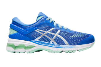 ASICS Women's Gel-Kayano 26 Running Shoe (Blue Coast/Pure Silver, Size 6 US)