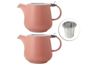 2x Maxwell & Williams 600ml Tint Coral Teapot w Lid & Removable Infuser Tea Pot