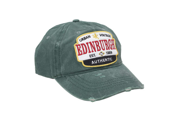 Edinburgh Unisex Adults Distressed Baseball Cap (Forest) (One Size)