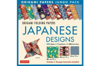 Origami Papers Jumbo Pack - Japanese Designs - 300 High-Quality Origami Papers in 3 Sizes (6 Inch; 6 3/4 Inch and 8 1/4 Inch) and a 16-Page Instructional Origami Book