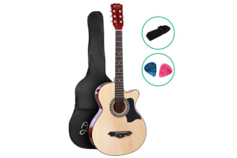 Alpha 38 Inch Wooden Folk Acoustic Guitar Classical Cutaway Steel String w/ Bag