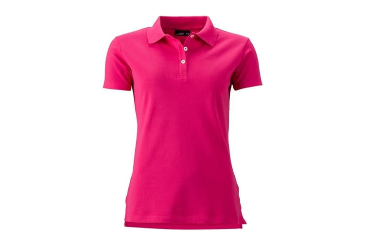 James and Nicholson Womens/Ladies Elastic Pique Polo (Pink) (M)