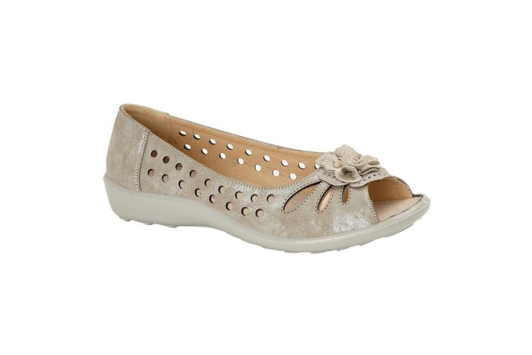 Boulevard Womens/Ladies Flower Punched Open Toe Shoes (Light Gold Shimmer) (7 UK)