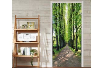 3D Roadside Straight Trees Door Mural Self-adhesive Vinyl, XXL 205cm x 82cm (HxW)(81''x32'')