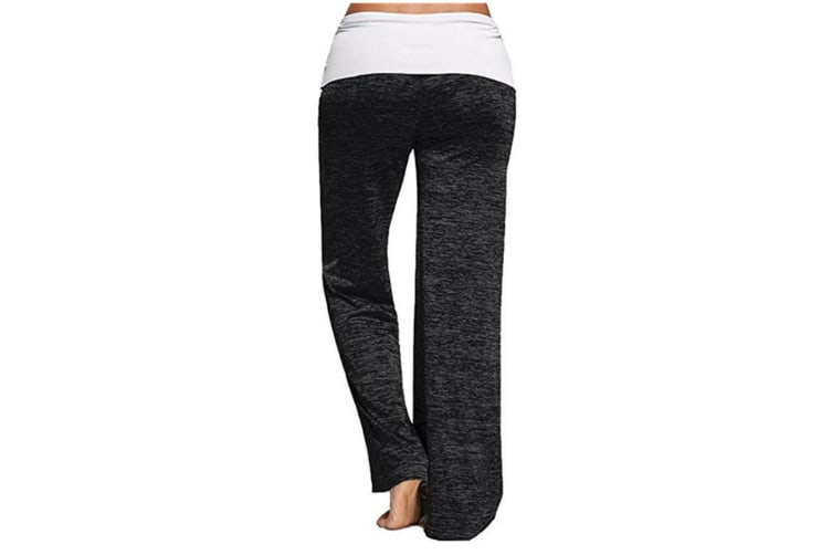 Stitching Yoga Quick-Drying Sports Trousers Leg Pants Black Xl