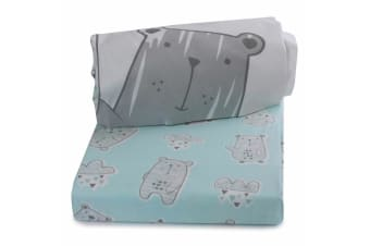 2pc Bubba Blue Beary Happy Cot Fitted Sheet