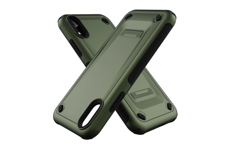 For iPhone XR Case Army Green Slim TPU PC Dual Layer Shockproof Protective Cover