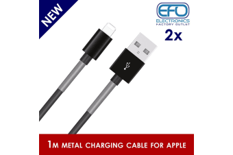 2Pc 1M Usb Data Charge Cable Lightning Pin Connector For Apple Iphone Ipad Metal Protected 2X