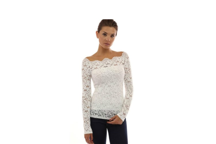 Women'S Off Shoulder Floral Lace Top Crochet T-Shirt White 4Xl Long Sleeve
